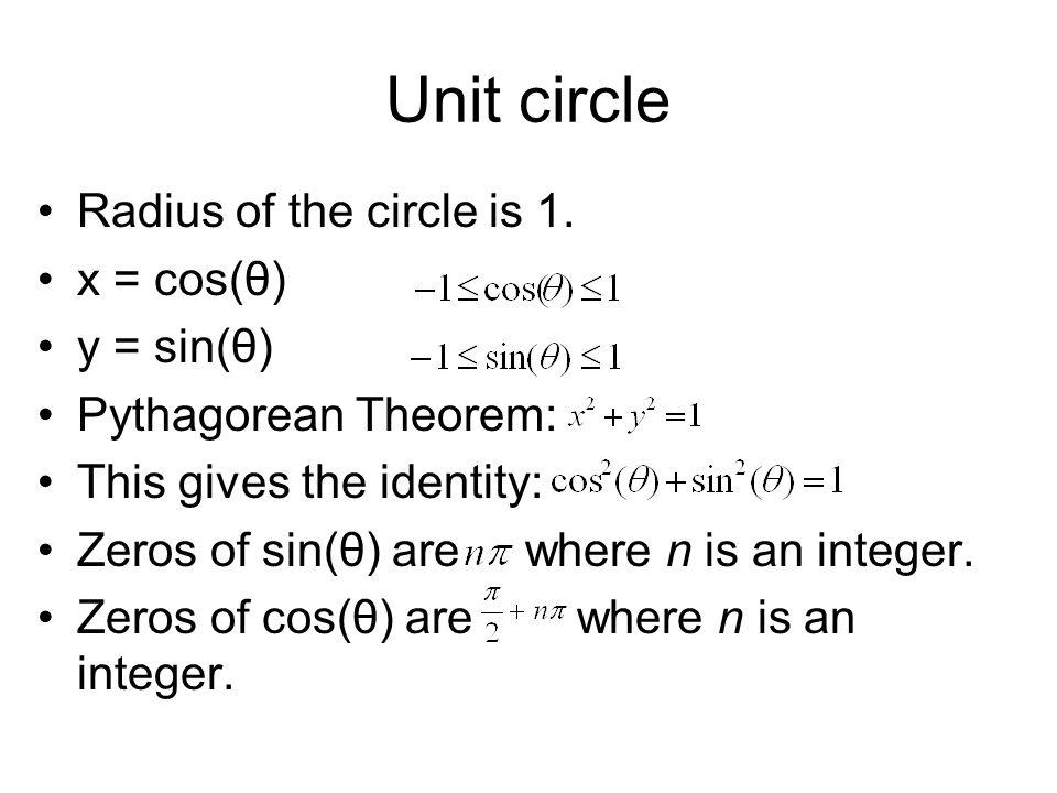 Unit circle Radius of the circle is 1.