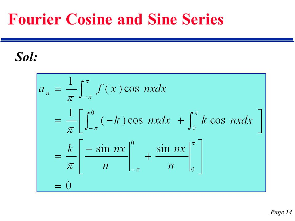 Page 14 Fourier Cosine and Sine Series Sol: