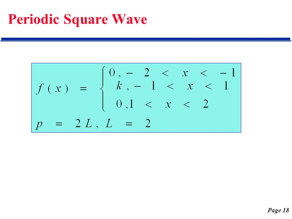 Page 18 Periodic Square Wave