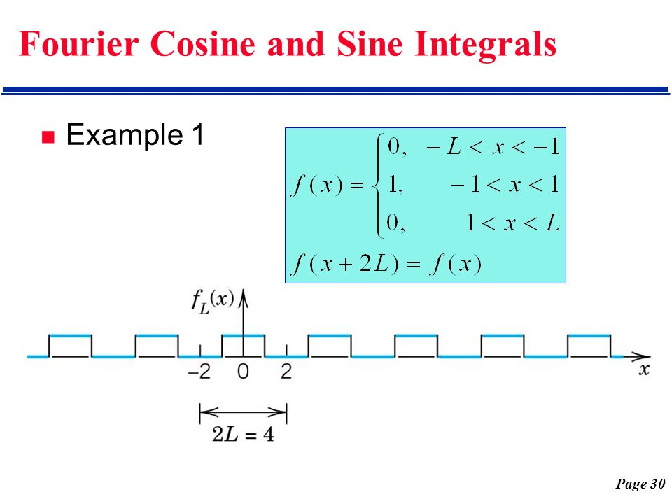 Page 30 Fourier Cosine and Sine Integrals Example 1