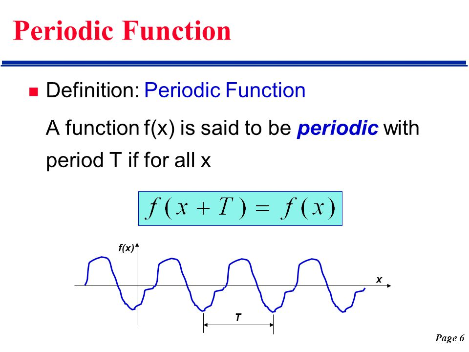Page 17 Periodic Function with Period 2L Then