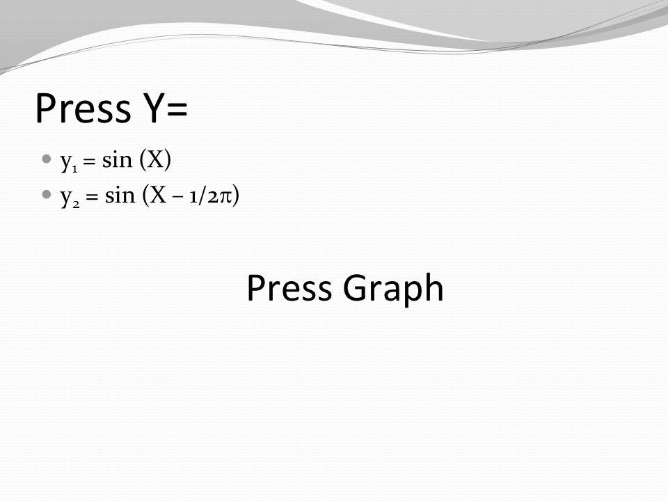 Press Y= y 1 = sin (X) y 2 = sin (X – 1/2  ) Press Graph