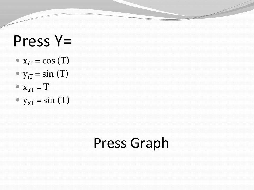 Press Y= x 1T = cos (T) y 1T = sin (T) x 2T = T y 2T = sin (T) Press Graph