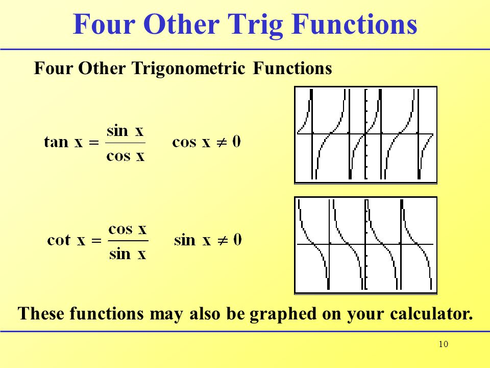 10 Four Other Trig Functions Four Other Trigonometric Functions These functions may also be graphed on your calculator.