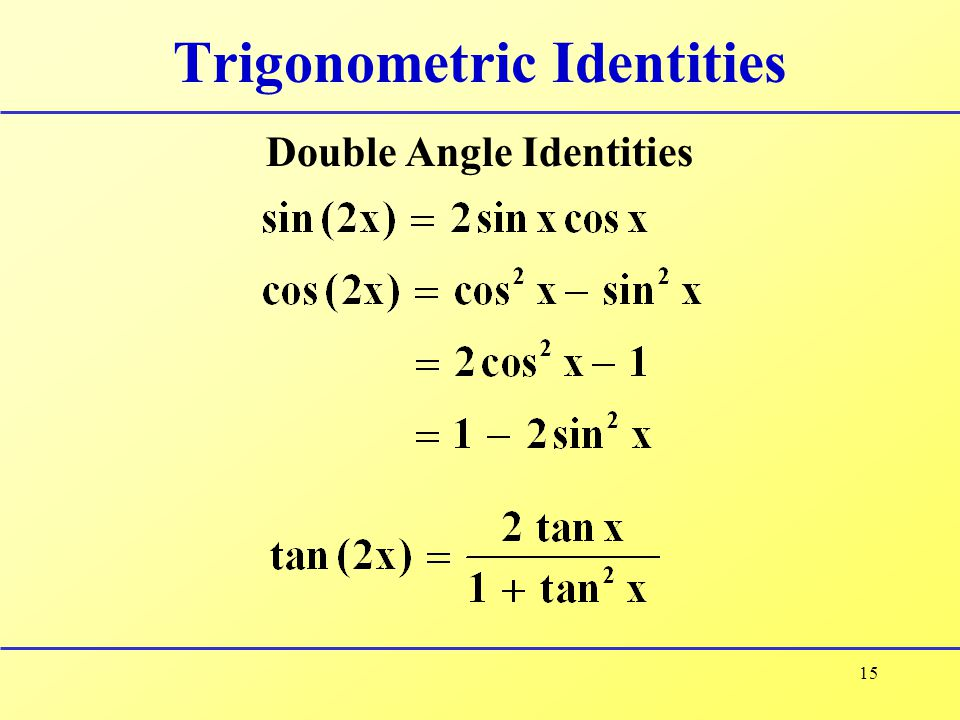 15 Trigonometric Identities Double Angle Identities