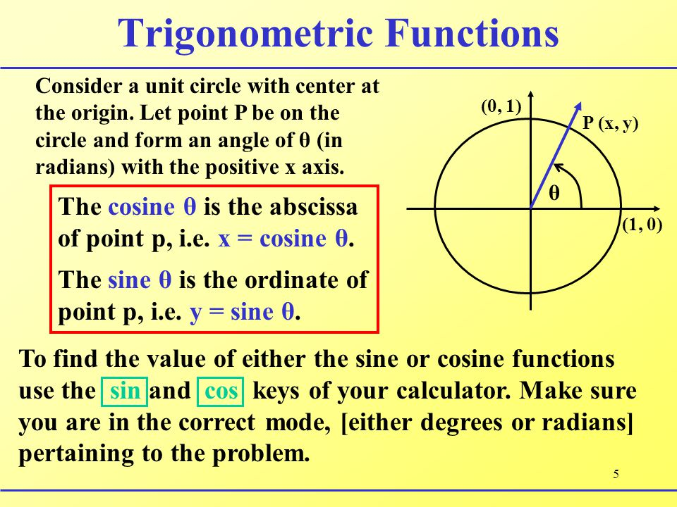 5 Trigonometric Functions Consider a unit circle with center at the origin. Let point P be on the circle and form an angle of θ (in radians) with the
