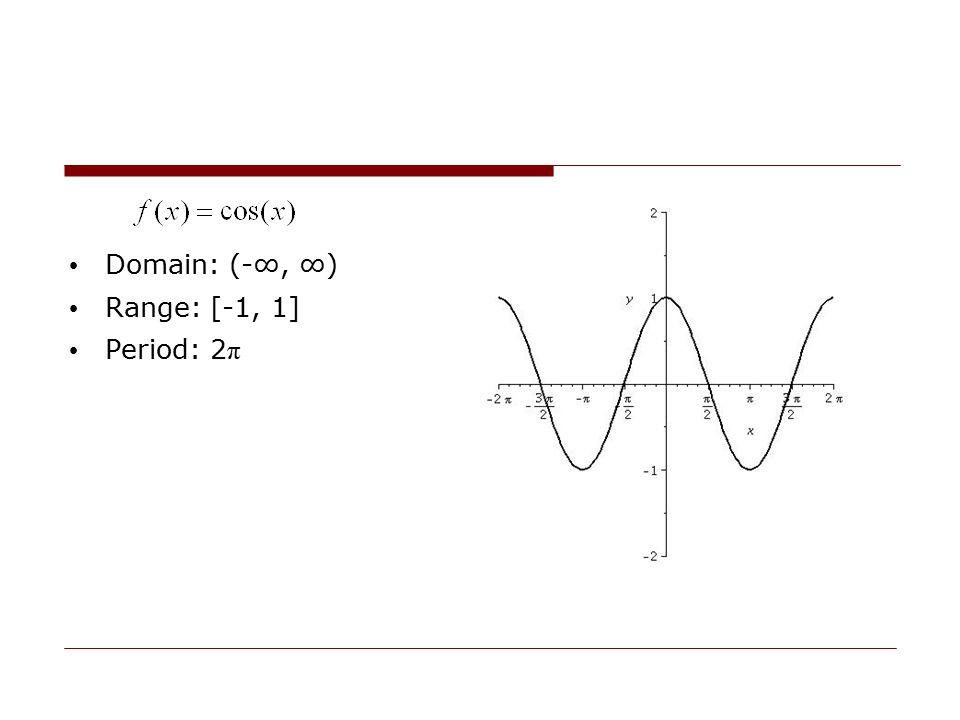 Domain: (-∞, ∞) Range: [-1, 1] Period: 2 π