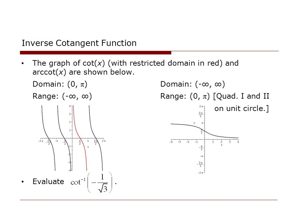 Inverse Cotangent Function The graph of cot(x) (with restricted domain in red) and arccot(x) are shown below. Domain: (0, π ) Domain: (-∞, ∞) Range: (