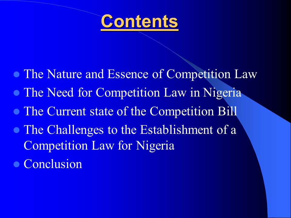The Nature and Essence of Competition Law Standard definition: A set of rules, disciplines and judicial decisions maintained by governments relating either to agreements between firms that restrict competition or to the concentration/abuse of market power on the part of private firms