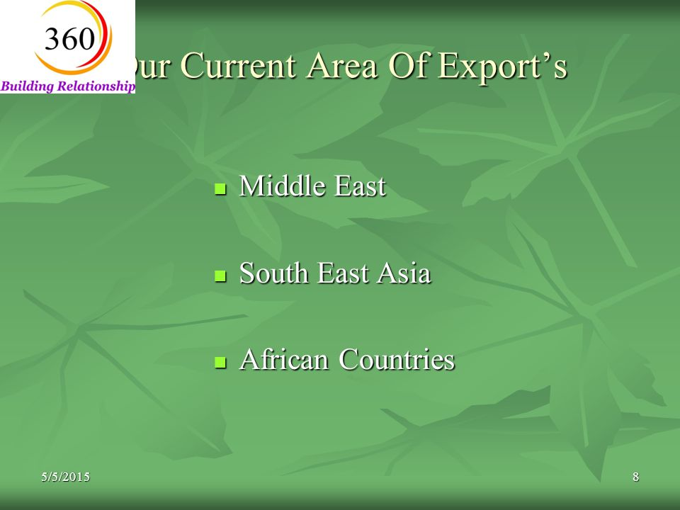 5/5/20158 Our Current Area Of Export's Middle East Middle East South East Asia South East Asia African Countries African Countries