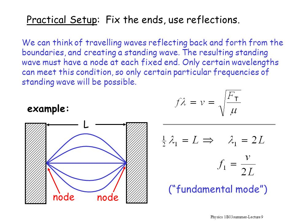 """Physics 1B03summer-Lecture 9 Practical Setup: Fix the ends, use reflections. node L (""""fundamental mode"""") We can think of travelling waves reflecting b"""