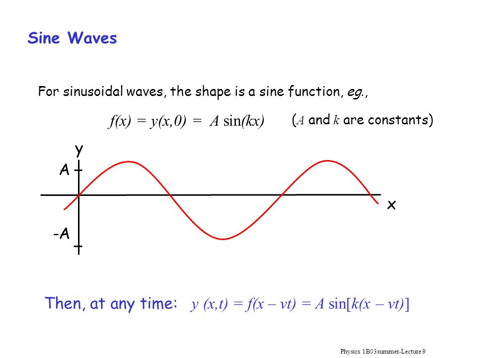 Physics 1B03summer-Lecture 9 Sine Waves f(x) = y(x,0) = A sin(kx) For sinusoidal waves, the shape is a sine function, eg., Then, at any time: y (x,t)