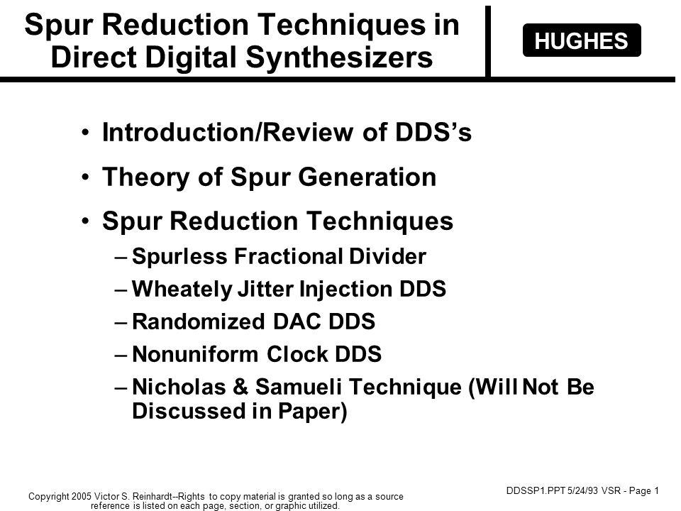 HUGHES DDSSP1.PPT 5/24/93 VSR - Page 1 Copyright 2005 Victor S.