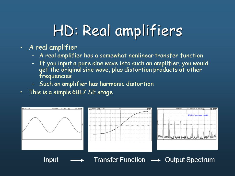 HD: Real amplifiers A real amplifier –A real amplifier has a somewhat nonlinear transfer function –If you input a pure sine wave into such an amplifier, you would get the original sine wave, plus distortion products at other frequencies –Such an amplifier has harmonic distortion This is a simple 6BL7 push-pull stage InputTransfer FunctionOutput Spectrum This is a simple 6BL7 SE stage