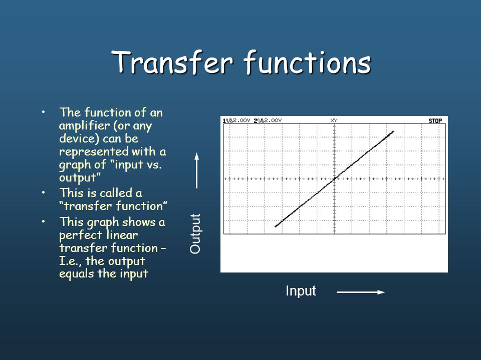 Transfer functions The function of an amplifier (or any device) can be represented with a graph of input vs.
