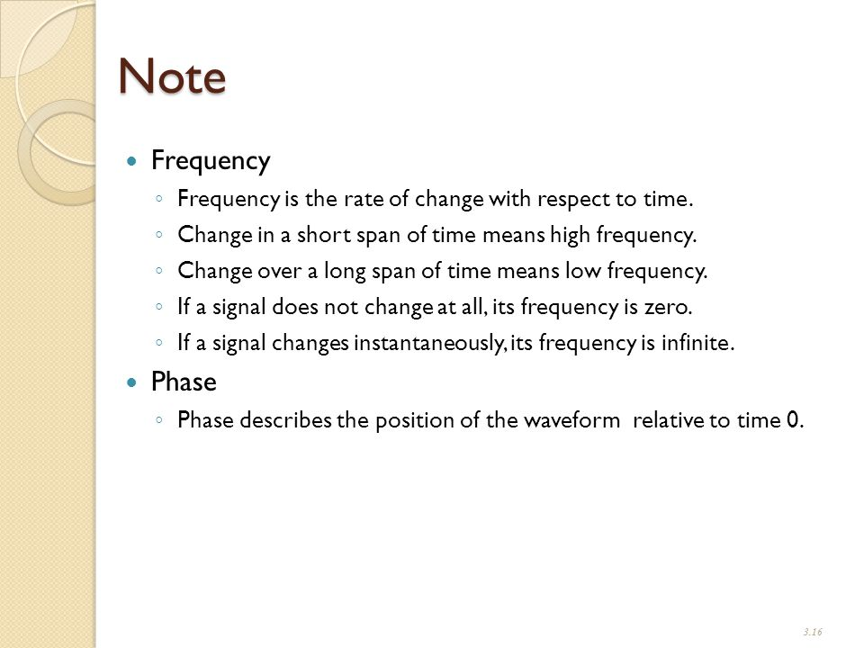 Note Frequency ◦ Frequency is the rate of change with respect to time.