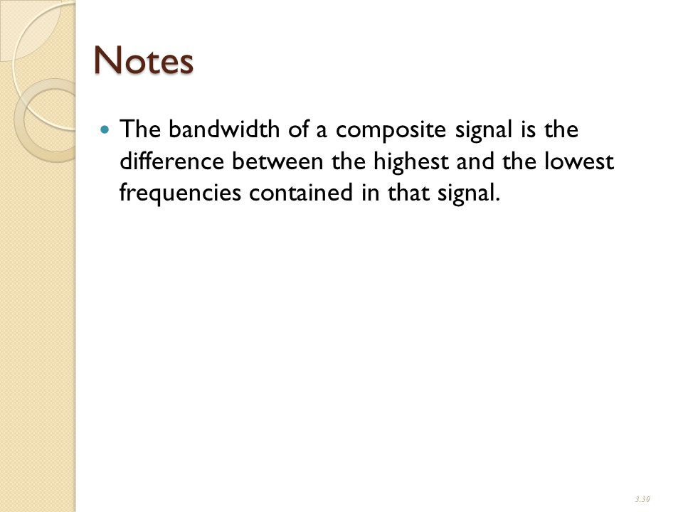 Notes The bandwidth of a composite signal is the difference between the highest and the lowest frequencies contained in that signal.