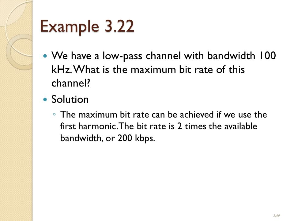 Example 3.22 We have a low-pass channel with bandwidth 100 kHz.