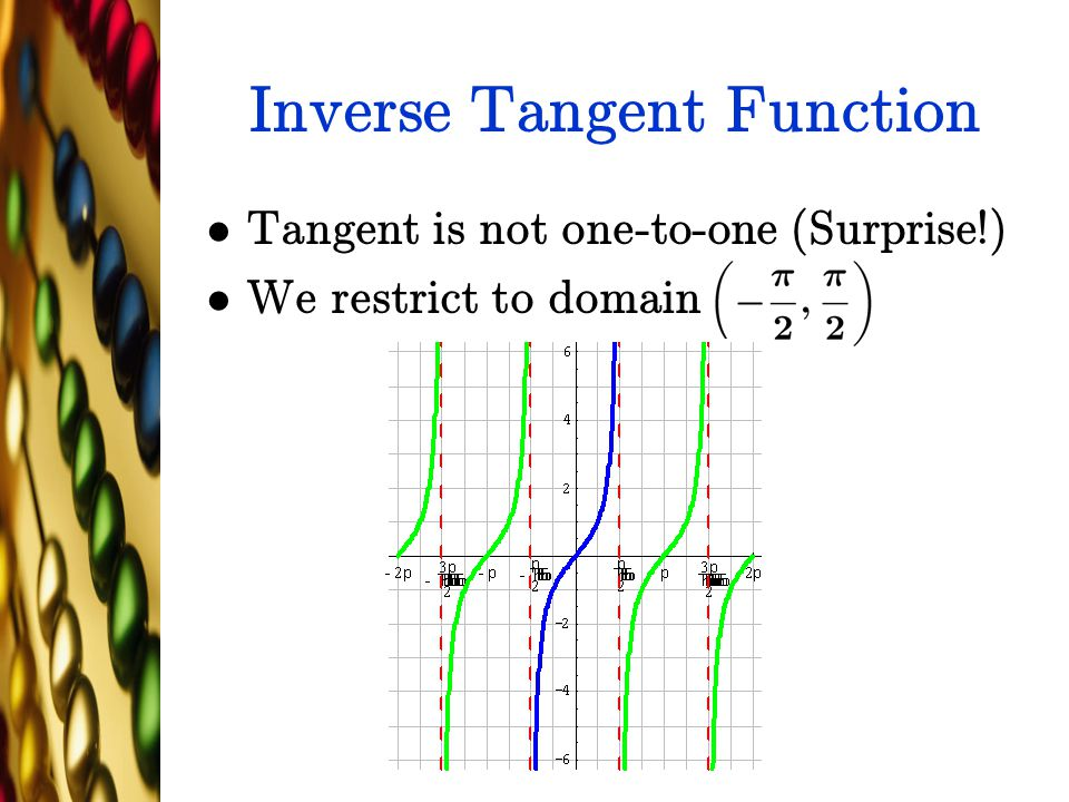 Inverse Tangent Function Tangent is not one-to-one (Surprise!) We restrict to domain