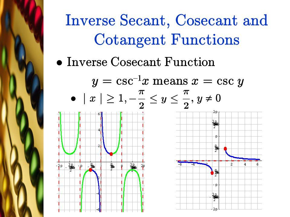 Inverse Secant, Cosecant and Cotangent Functions Inverse Cosecant Function y = csc {1 x means x = csc y j x j ¸ 1, y  0
