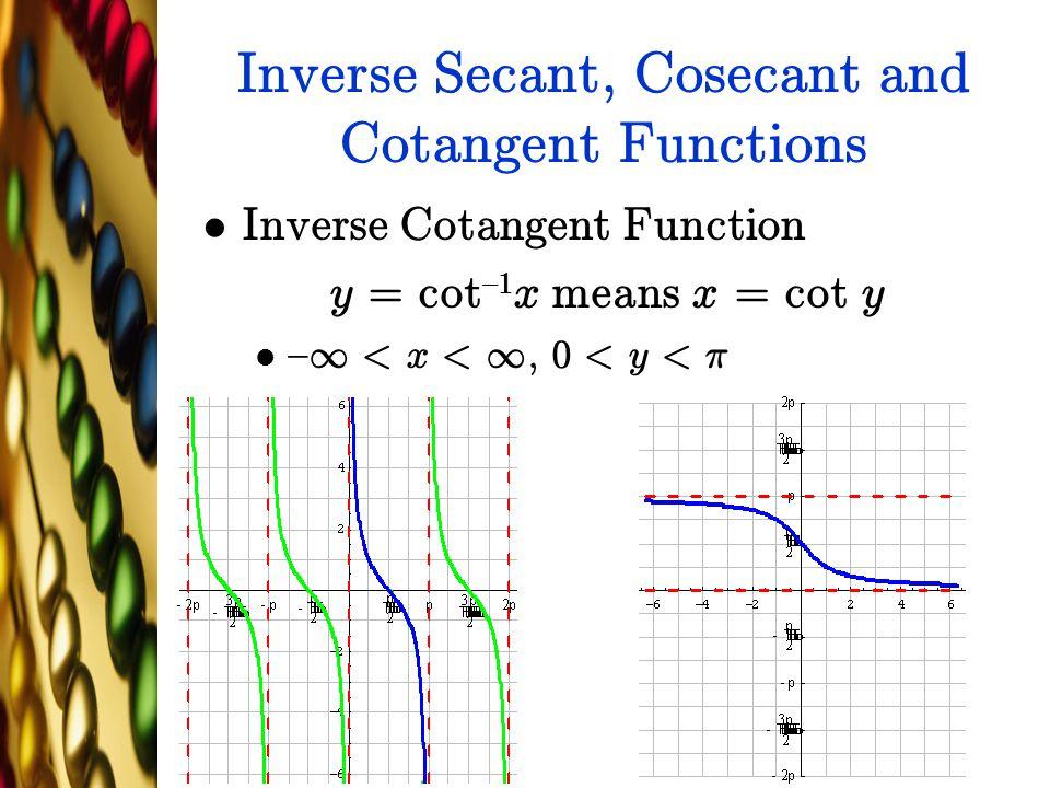 Inverse Secant, Cosecant and Cotangent Functions Inverse Cotangent Function y = cot {1 x means x = cot y { 1 < x < 1, 0 < y < ¼