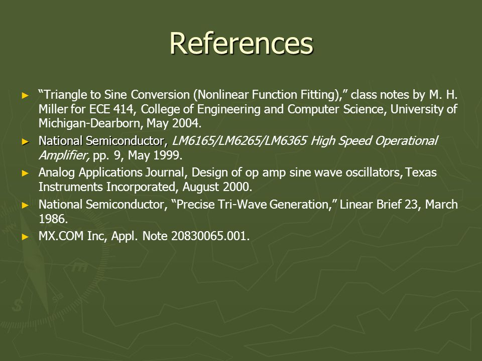 References ► ► Triangle to Sine Conversion (Nonlinear Function Fitting), class notes by M.