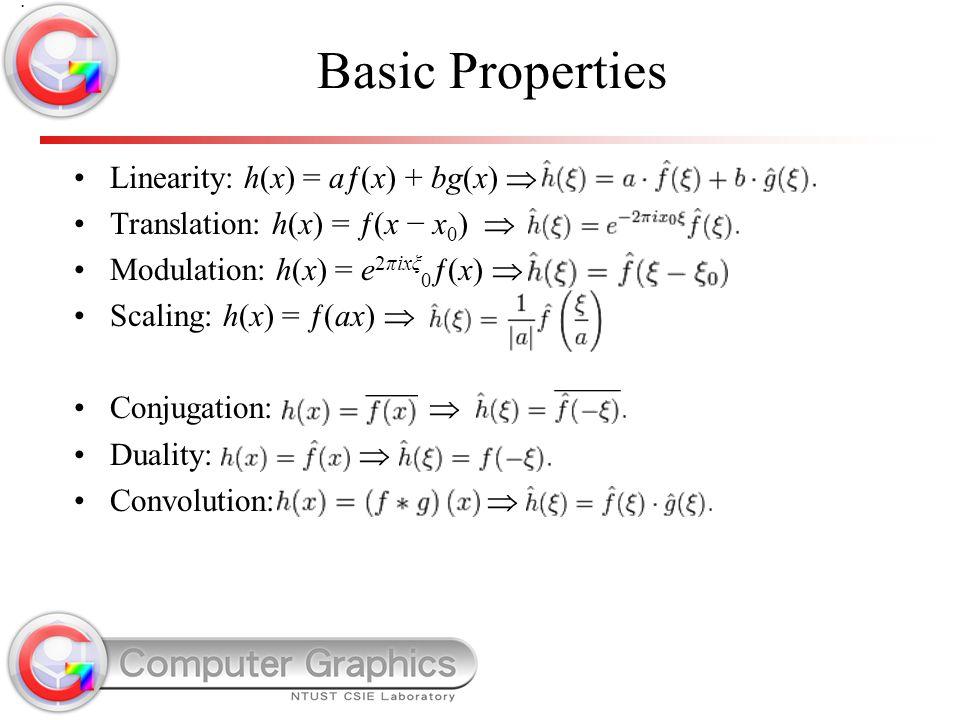 Basic Properties Linearity: h(x) = aƒ(x) + bg(x)  Translation: h(x) = ƒ(x − x 0 )  Modulation: h(x) = e 2πixξ 0 ƒ(x)  Scaling: h(x) = ƒ(ax)  Conju