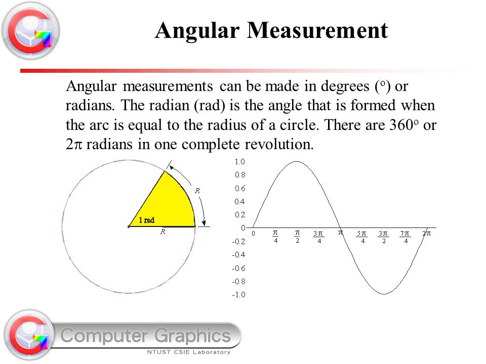 Angular measurements can be made in degrees ( o ) or radians. The radian (rad) is the angle that is formed when the arc is equal to the radius of a ci