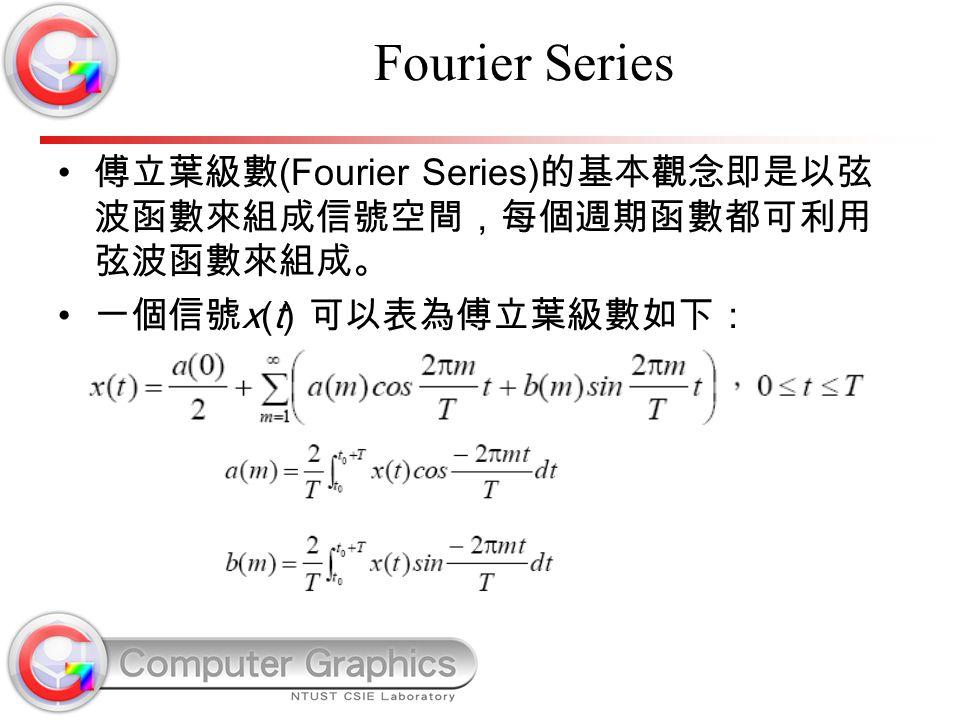 Fourier Series 傅立葉級數 (Fourier Series) 的基本觀念即是以弦 波函數來組成信號空間,每個週期函數都可利用 弦波函數來組成。 一個信號 x(t) 可以表為傅立葉級數如下: