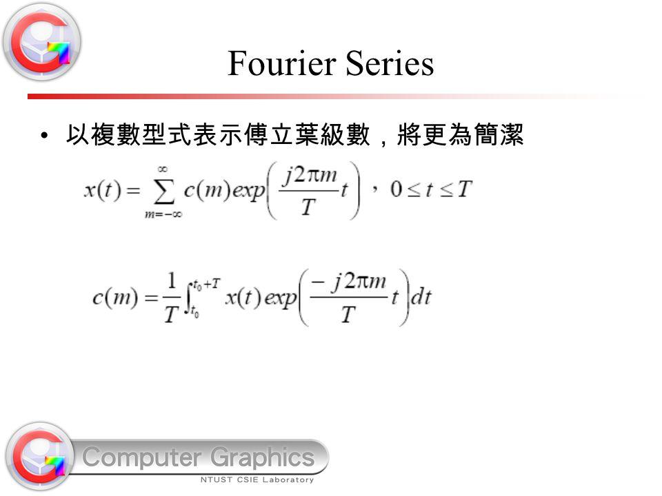 Fourier Series 以複數型式表示傅立葉級數,將更為簡潔