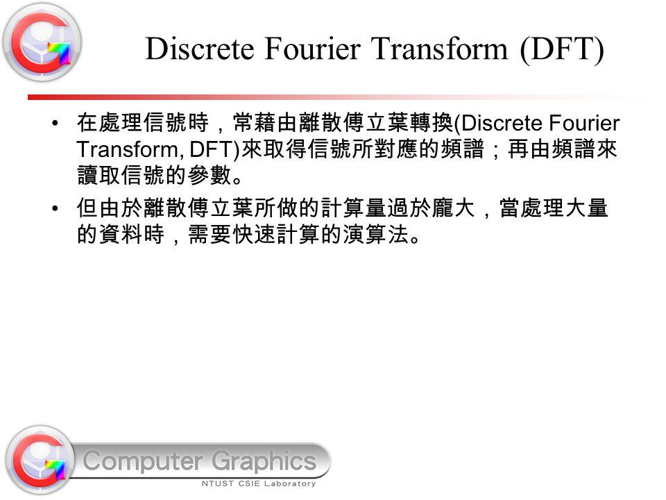 Discrete Fourier Transform (DFT) 在處理信號時,常藉由離散傅立葉轉換 (Discrete Fourier Transform, DFT) 來取得信號所對應的頻譜;再由頻譜來 讀取信號的參數。 但由於離散傅立葉所做的計算量過於龐大,當處理大量 的資料時,需要快速計算的演