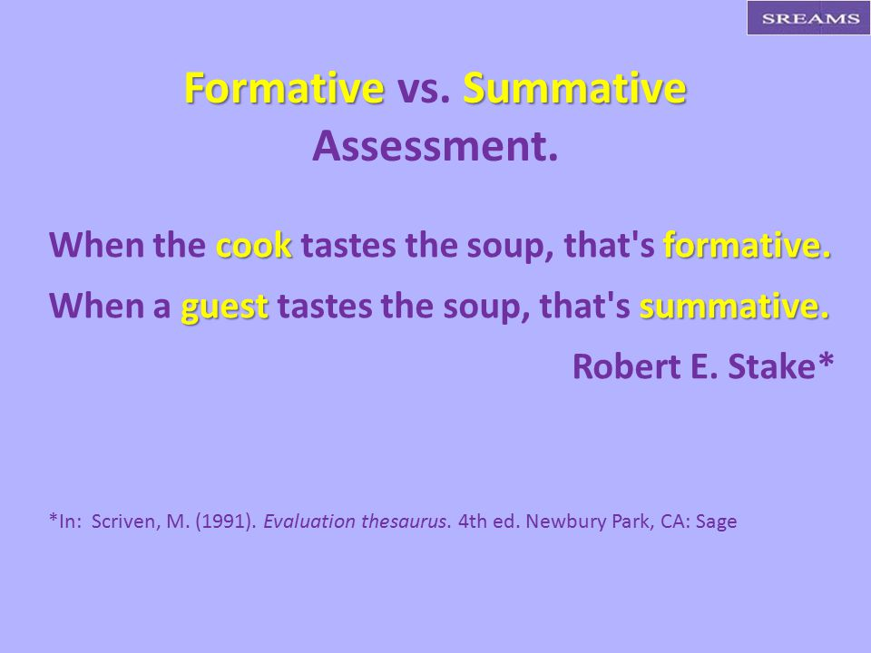 Formative Summative Formative vs. Summative Assessment.