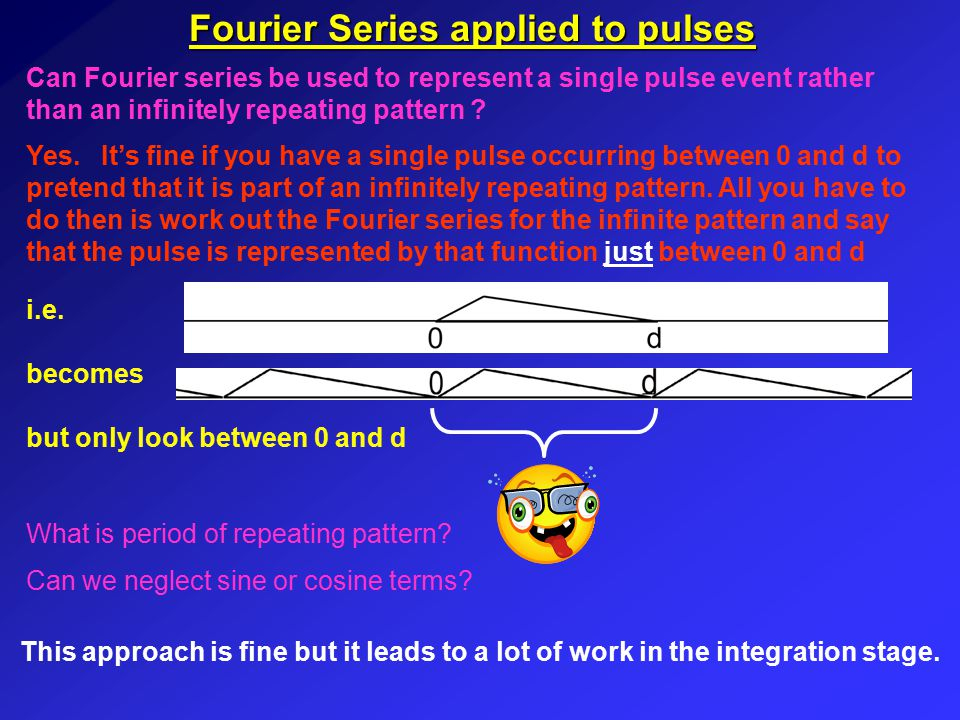 Fourier Series applied to pulses There is a better way….