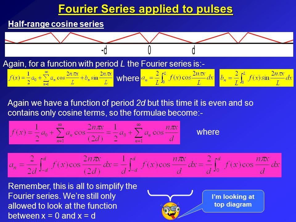 Fourier Series applied to pulses Summary of half-range sine and cosine series The Fourier series for a pulse such as can be written as either a half range sine or cosine series.