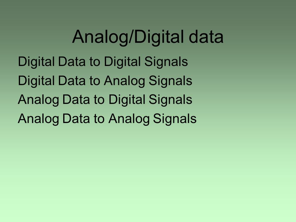 Analog/Digital data Digital Data to Digital Signals Digital Data to Analog Signals Analog Data to Digital Signals Analog Data to Analog Signals