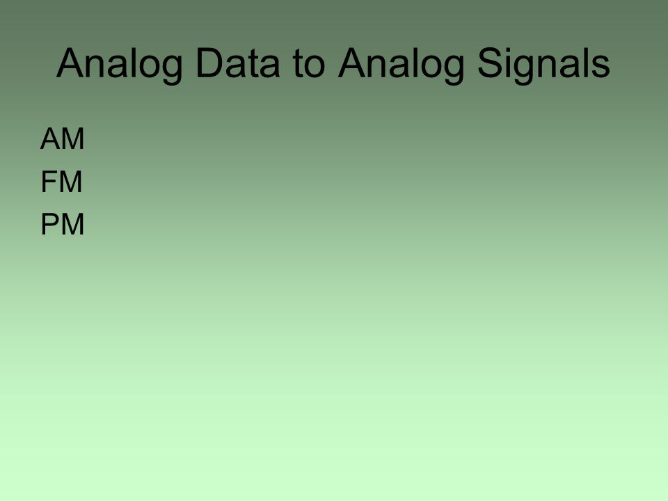 Analog Data to Analog Signals AM FM PM