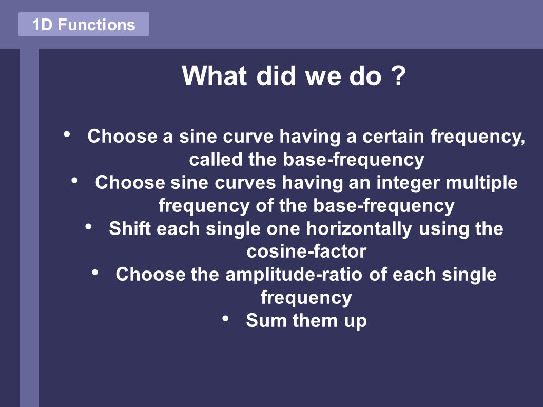 1D Functions What did we do .