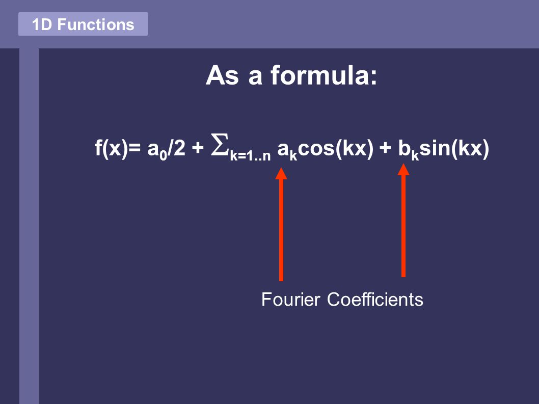 1D Functions As a formula: f(x)= a 0 /2 +  k=1..n a k cos(kx) + b k sin(kx) Fourier Coefficients