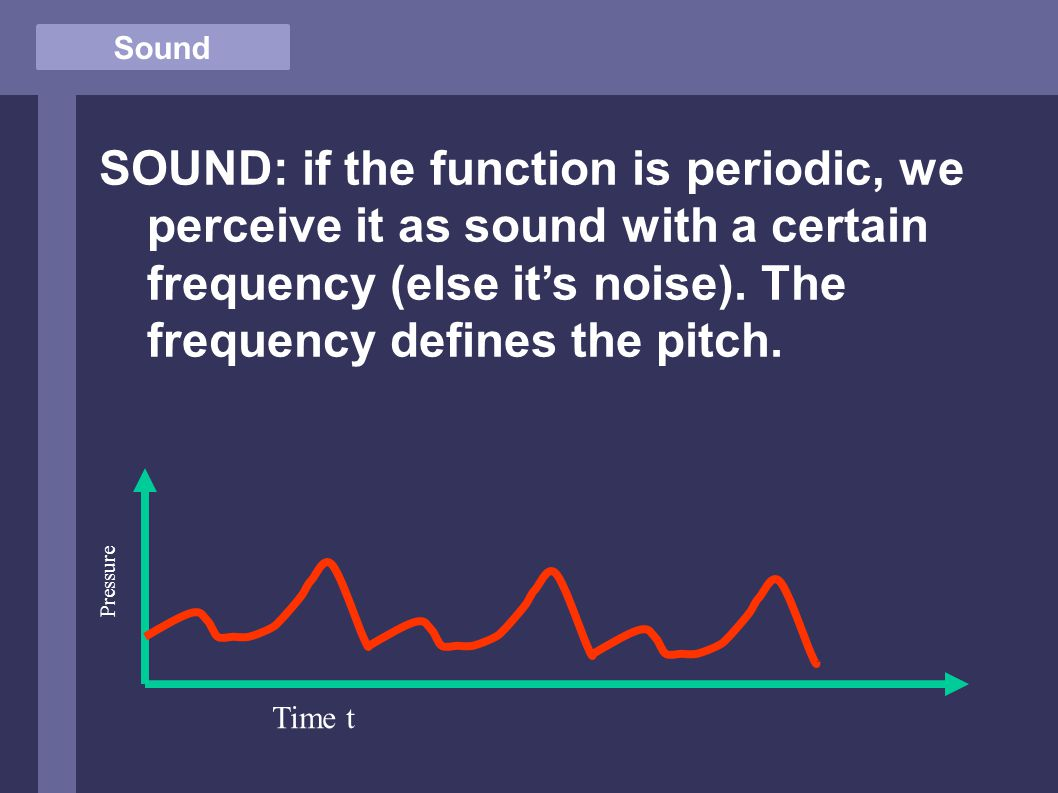 Sound SOUND: if the function is periodic, we perceive it as sound with a certain frequency (else it's noise).