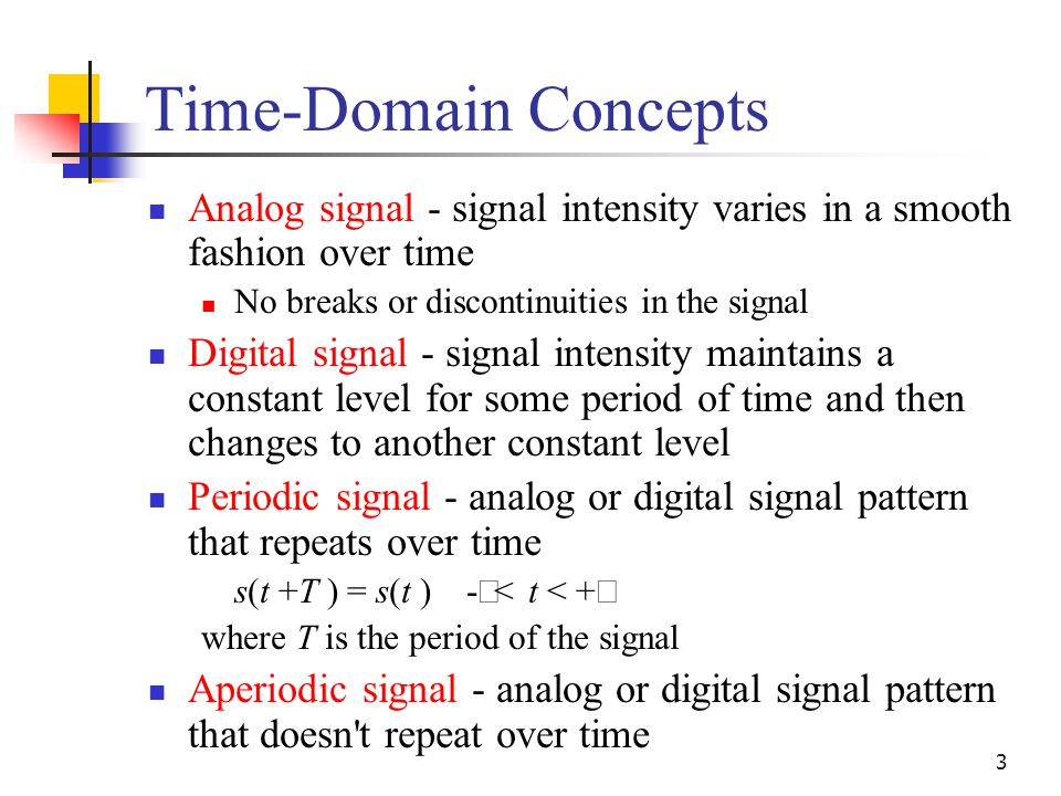 3 Time-Domain Concepts Analog signal - signal intensity varies in a smooth fashion over time No breaks or discontinuities in the signal Digital signal - signal intensity maintains a constant level for some period of time and then changes to another constant level Periodic signal - analog or digital signal pattern that repeats over time s(t +T ) = s(t ) -  < t < +  where T is the period of the signal Aperiodic signal - analog or digital signal pattern that doesn t repeat over time