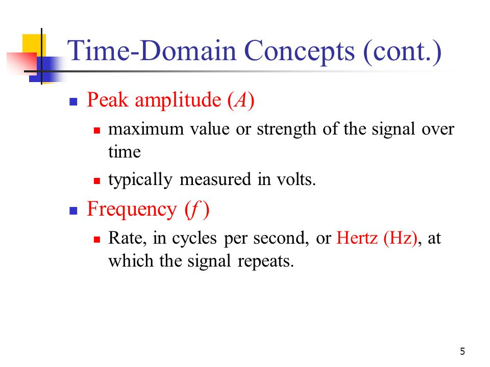 5 Time-Domain Concepts (cont.) Peak amplitude (A) maximum value or strength of the signal over time typically measured in volts. Frequency (f ) Rate,