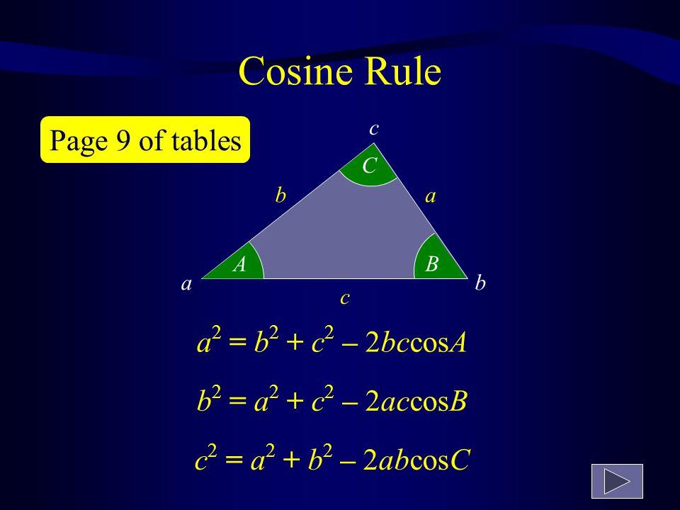 Trigonometric ratios in surd form 1 1 1 2 30º 45º 60º Angles are given in radians π radians = 180º π3π3 = 60º π2π2 = 90º π4π4 = 45º π6π6 = 30º 3 1 3 2 3 1 tan 60 º = sin 60 º = 1212 cos 60 º = tan 30 º = 1212 sin 30 º = 3 2 cos 30 º = 2 tan 45 º = 1 1 2 sin 45 º = 1 2 cos 45 º = Page 9 of tables