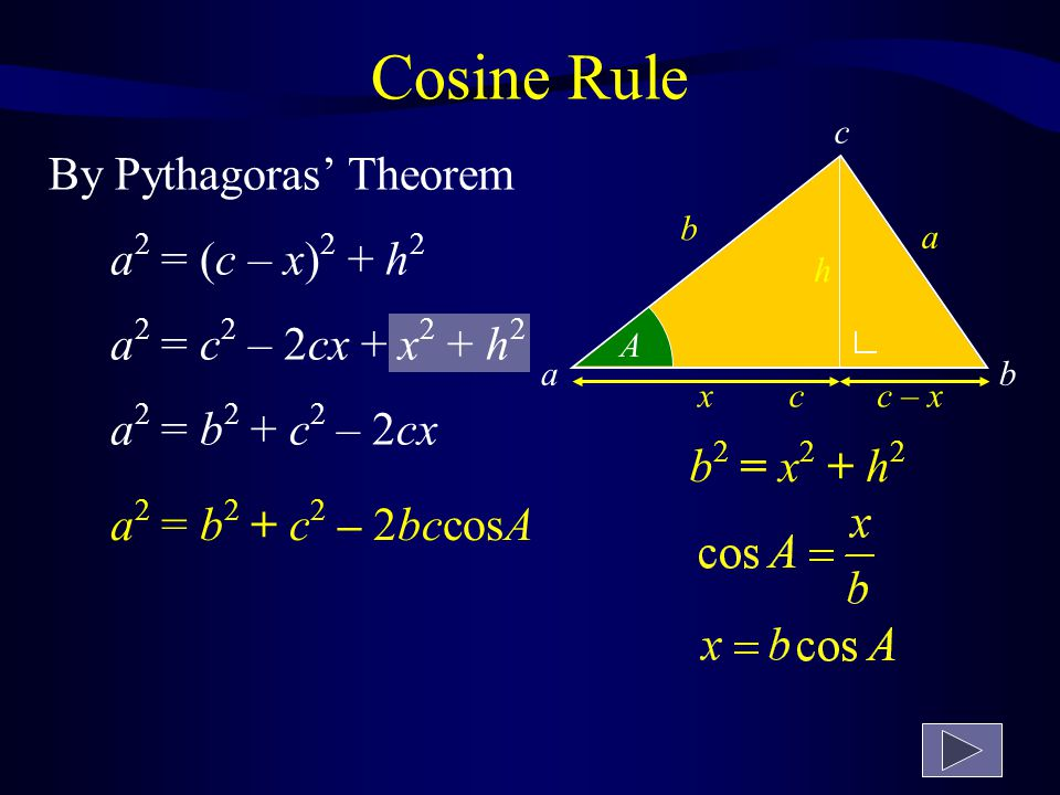 c ab Cosine Rule C AB a 2 = b 2 + c 2 – 2bccosA ba c b 2 = a 2 + c 2 – 2accosB c 2 = a 2 + b 2 – 2abcosC Page 9 of tables