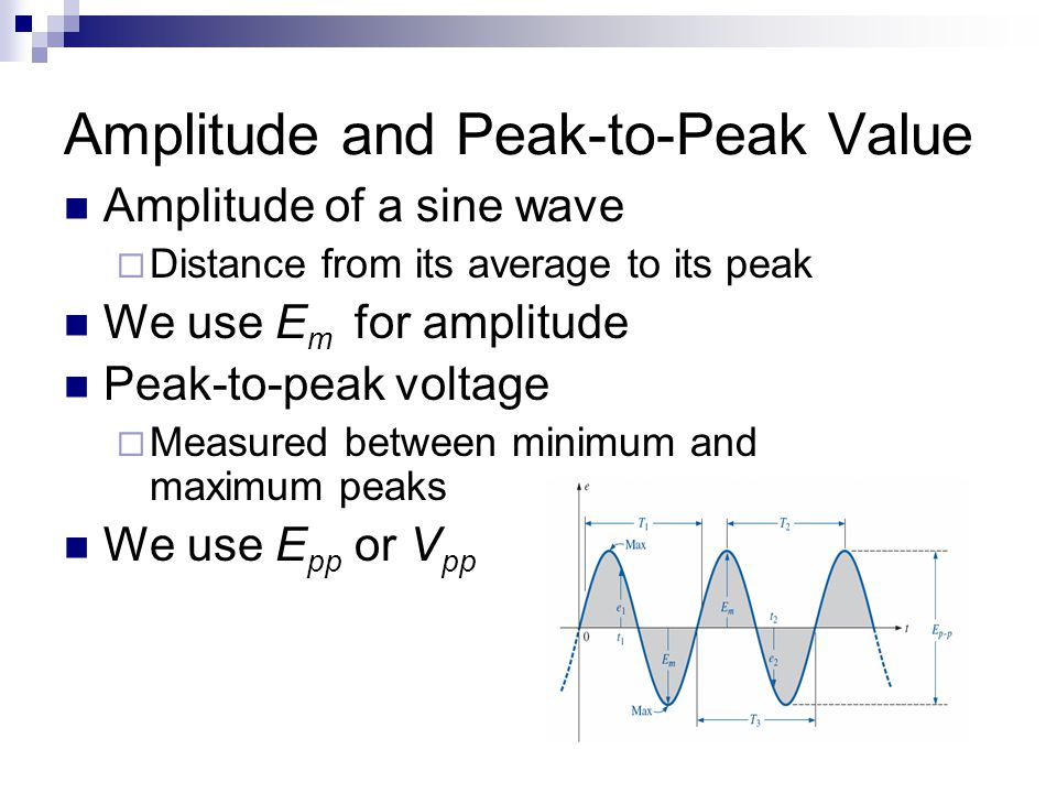 Amplitude and Peak-to-Peak Value Amplitude of a sine wave  Distance from its average to its peak We use E m for amplitude Peak-to-peak voltage  Meas