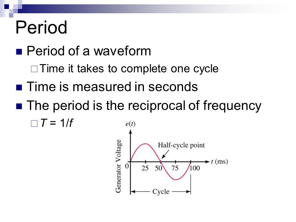 Frequency Number of cycles per second of a waveform  Frequency  Denoted by f Unit of frequency is hertz (Hz) 1 Hz = 1 cycle per second