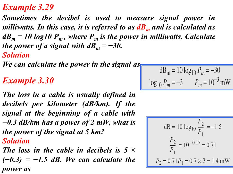 Sometimes the decibel is used to measure signal power in milliwatts. In this case, it is referred to as dB m and is calculated as dB m = 10 log10 P m,
