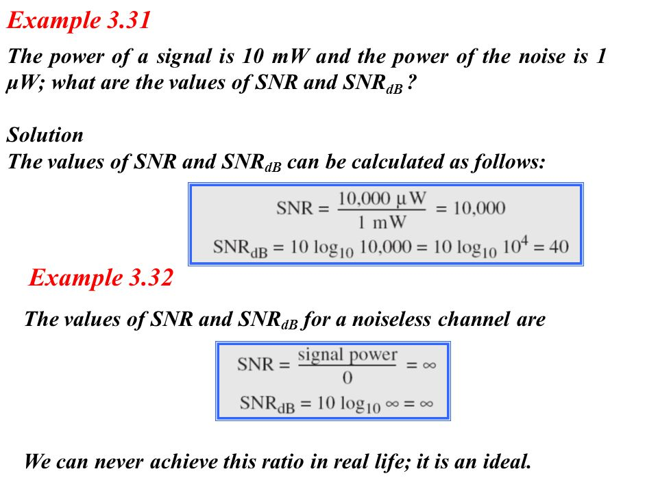 The power of a signal is 10 mW and the power of the noise is 1 μW; what are the values of SNR and SNR dB ? Solution The values of SNR and SNR dB can b