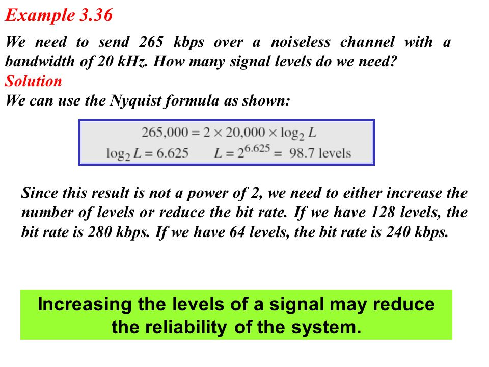 We need to send 265 kbps over a noiseless channel with a bandwidth of 20 kHz. How many signal levels do we need? Solution We can use the Nyquist formu