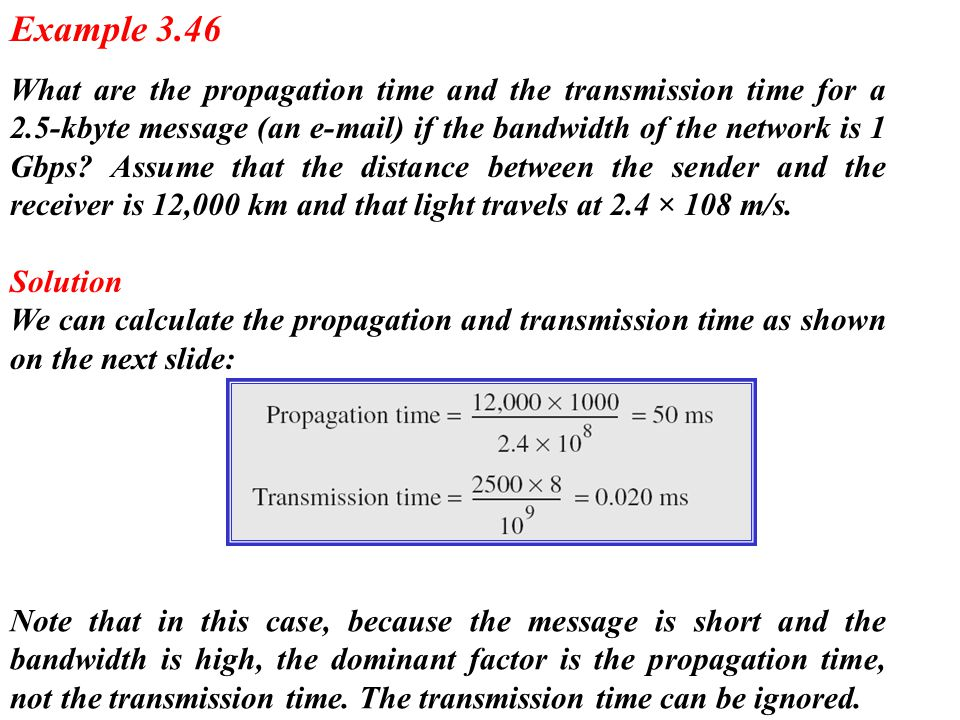 What are the propagation time and the transmission time for a 2.5-kbyte message (an e-mail) if the bandwidth of the network is 1 Gbps? Assume that the