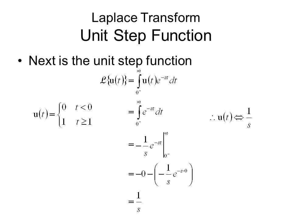 Next is the unit step function Laplace Transform Unit Step Function